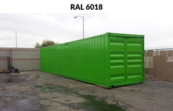 kontener w kolorze RAL 6018