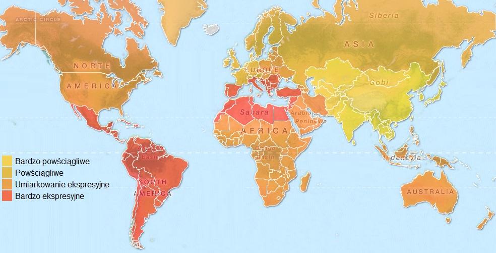 Mapa kultur ekspresyjnych i powściągliwych